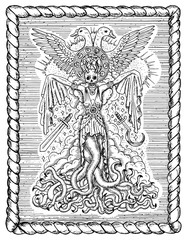 ПечатьBlack and white drawing with evil goddess or female demon with tentacles, skull and mystic spiritual symbols in frame