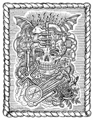 Black and white mystic drawing with scary skull, steampunk and gothic symbols as rose, demon wings, cross, cogs and wheels in frame