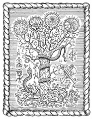 Black and white drawing with mystic and christian religious symbols as snake, tree of knowledge and forbidden fruit in frame