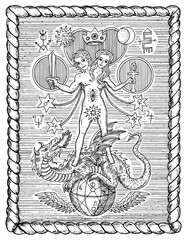Black and white drawing with mystic and alchemical symbols, androgyne, twins or Gemini concept in frame