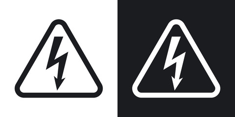 Vector high voltage sign. Two-tone version on black and white background