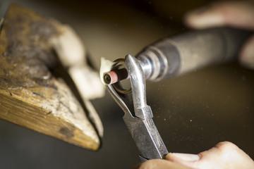 Hand-made wedding ring by goldsmith craftsman