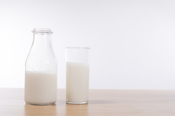 Bottle of fresh milk with glass alongside