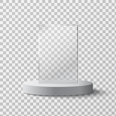 Empty glass award isolated, trophy template on a transparent background. Vector element, eps10