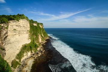 Cliff and sea along the coast of Bali, Indonesia