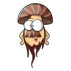 Cartoon mushroom with beard. Vector eps 10