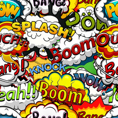 Comics speech bubbles seamless pattern. Vector illustration