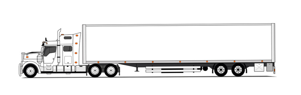 White american style truck with trailer