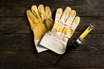 Work Gloves on Rustic Table