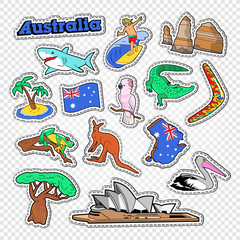 Travel to Australia Doodle. Australian Stickers, Badges and Patches with Map, Animals and Architecture. Vector illustration