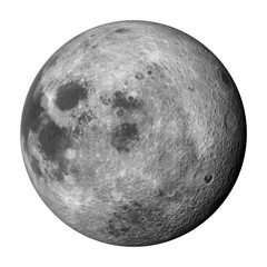 3D render, 'right' side of the moon isolated on white background