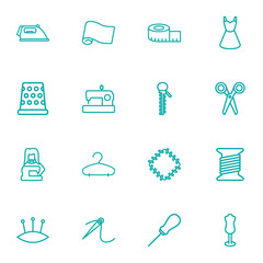 Set Of 16 Stitch Outline Icons Set.Collection Of Hanger, Patch, Tailor And Other Elements.