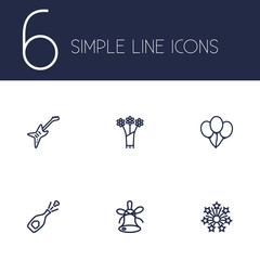 Set Of 6 Party Outline Icons Set.Collection Of Flower, Balloon, Stars And Other Elements.