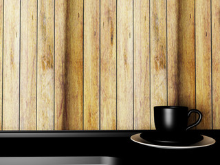 black cup on the table, 3d