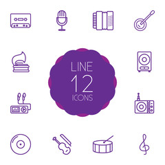 Set Of 12 Song Outline Icons Set.Collection Of Amplifier, Fiddle, Station And Other Elements.