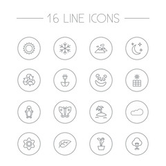 Set Of 16 Natural Outline Icons Set.Collection Of Eco Energy, Plant, Island Elements.