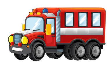 Cartoon funny looking cartoon fire fireman bus - illustration for children