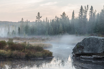 Misty morning over the lake in Algonquin Park in autumn