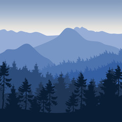 Nature landscape background flat design mountain forest