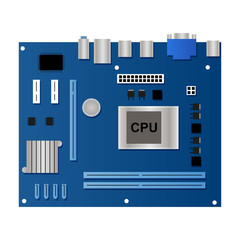 Flat blue motherboard for computer