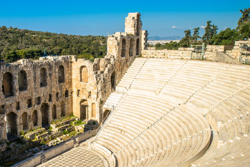 View from the Acropolis to the Ancient theater Odeon of Herodes Atticus in Athens, Greece