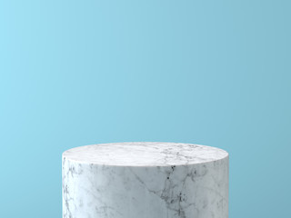 Empty white marble podium on pastel blue color background. 3D rendering.