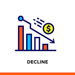 Vector outline icons DECLINE of finance, banking. High quality modern icons suitable for print, website and presentation