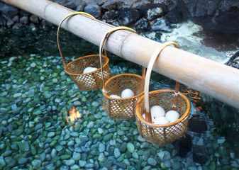 Boiling eggs in hotspring