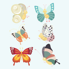 Set colorful isolated butterflies.