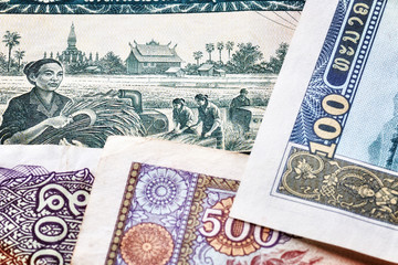 Printed roller blinds Chicken Close up picture of Lao kip banknotes, shallow depth of field.