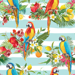 Tropical Fruits, Flowers and Parrot Birds Seamless Background. Retro Summer Pattern in Vector