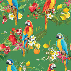 Printed roller blinds Parrot Tropical Fruits, Flowers and Parrot Birds Seamless Background. Retro Summer Pattern in Vector