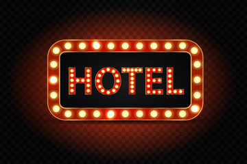 Vector realistic isolated neon hotel sign billboard for decoration and covering on the transparent background.