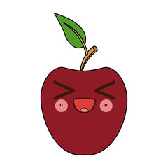 kawaii apple fruit with leave cartoon