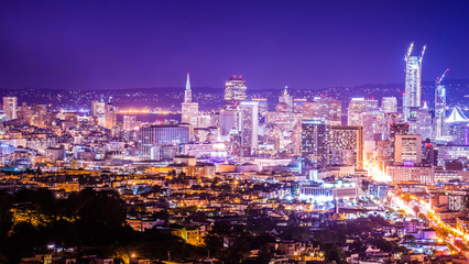 san francisco california cityscape skyline at night