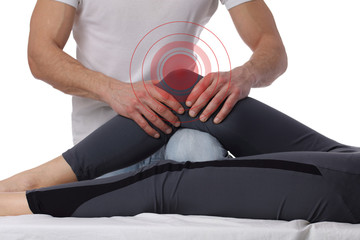 Woman having chiropractic adjustment, healing treatment. Osteopathy, manual therapy, acupressure. Alternative medicine, pain relief concept. Rehabilitation after sport Injury, isolated on white.