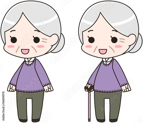 高齢者 老人 シニア おばあちゃん 全身イラストfotoliacom の ストック