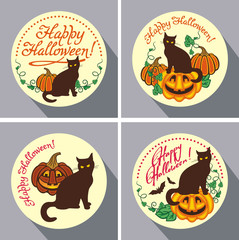 """Set of round buttons with black cat, flying bats, pumpkin and hand drawn text """"Happy Halloween!"""" Original design element for greeting cards, invitations, prints. Vector clip art."""