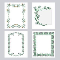 Set of color floral vertical frames. Design element for banners, labels, prints, posters, web, presentation, invitations, weddings, greeting cards, albums.Vector clip art.