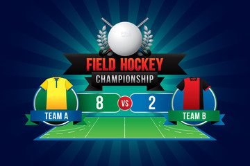 Vector of field hockey championship with team competition and scoreboard.