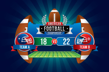 Vector of American football championship with team competition and scoreboard on green field background.