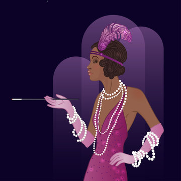 Retro fashion: glamour girl of twenties (African American woman). Vector illustration. Flapper  20's style. Vintage party invitation design template.