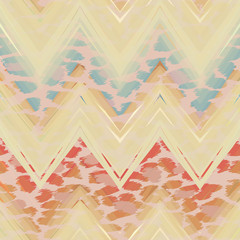 Ethnic zigzag pattern in retro colors, aztec style seamless vector background.