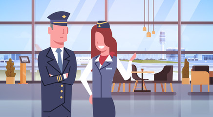 Pilot And Stewardess In Airport Airline Crew Workers Team Flat Vector Illustration