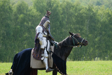 Medieval knight in armor on horseback