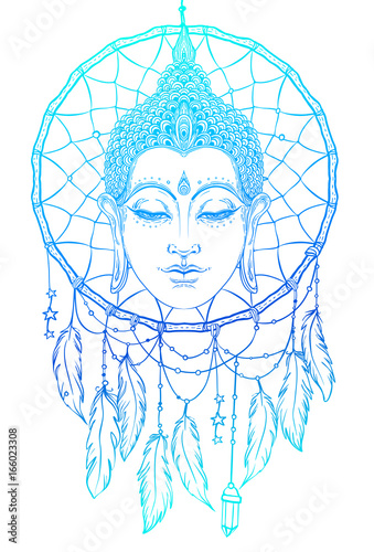 1eb424bd02391 Buddha face over dreamcatcher round pattern. Esoteric vintage vector  illustration. Indian, Buddhism,