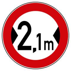 rsr26 RoadSignRound - Zeichen: 264 - Verbot für Fahrzeuge über der angegebenen tatsächlichen Breite einschließlich Außenspiegel - 2,1 meter - Fahrspur / Fahrbahnverengung - xxl - g5330