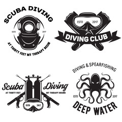 Set of Scuba diving club and diving school badges with design elements. Vector illustration. Concept for shirt or logo, print, stamp or tee.