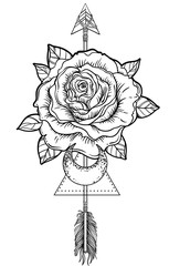 Blackwork tattoo flash. Rose flower, arrow and moon. Highly detailed vector illustration isolated on white. Tattoo design, mystic symbol. New school dotwork. Boho design.