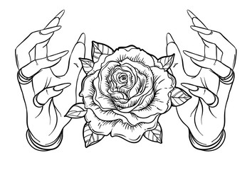 Vintage Astronomy: human hands with Blackwork tattoo. Rose flower. Highly detailed vector illustration isolated on white. Dotwork ink flash design.